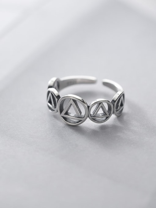 Rosh 925 Sterling Silver  Vintage Geometric triangle circle  Band Ring 3