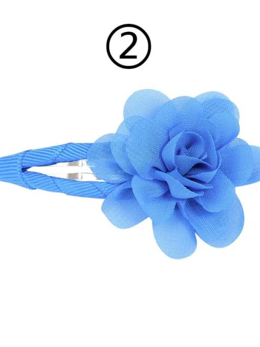 2 Copenhagen blue Alloy Yarn Minimalist Flower  Multi Color Hair Barrette