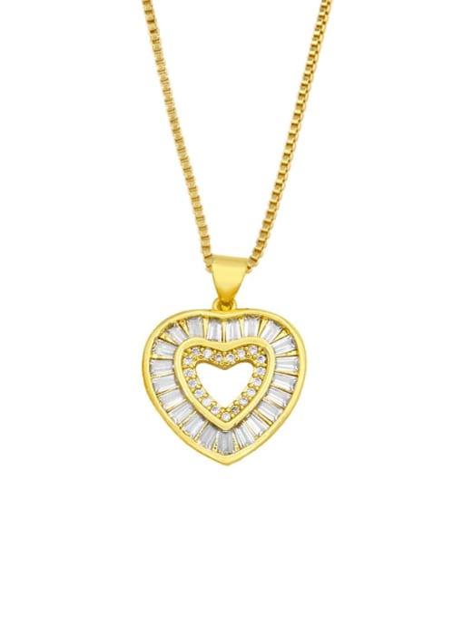 CC Brass Cubic Zirconia Heart Minimalist Necklace 0