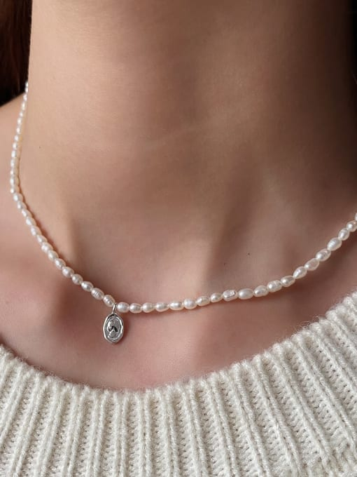 Boomer Cat 925 Sterling Silver Freshwater Pearl Geometric Minimalist Necklace 1