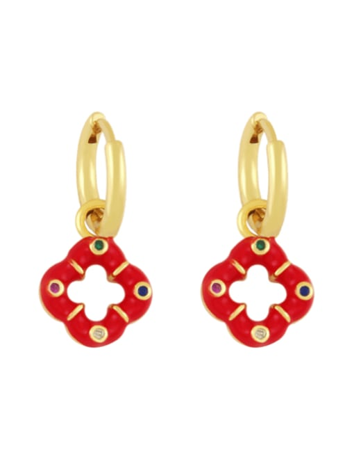 red Brass Enamel Clover Vintage Huggie Earring