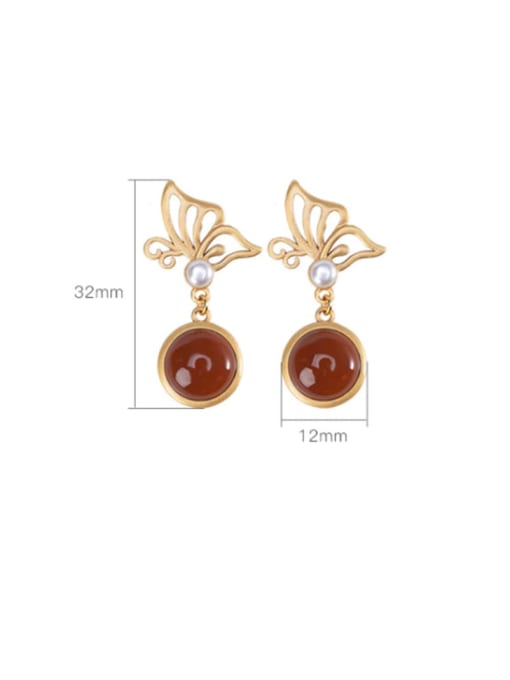 DEER 925 Sterling Silver Carnelian Butterfly Vintage Drop Earring 2