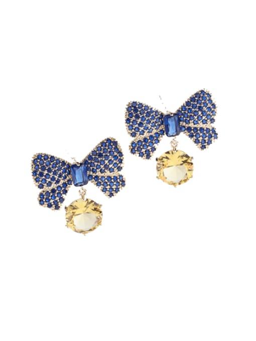 Luxu Brass Cubic Zirconia Butterfly Bohemia Stud Earring 3