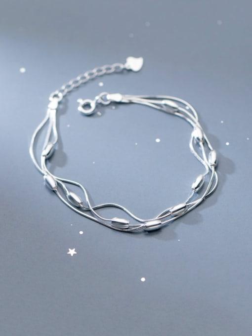Rosh 925 Sterling Silver Round Minimalist Strand Bracelet