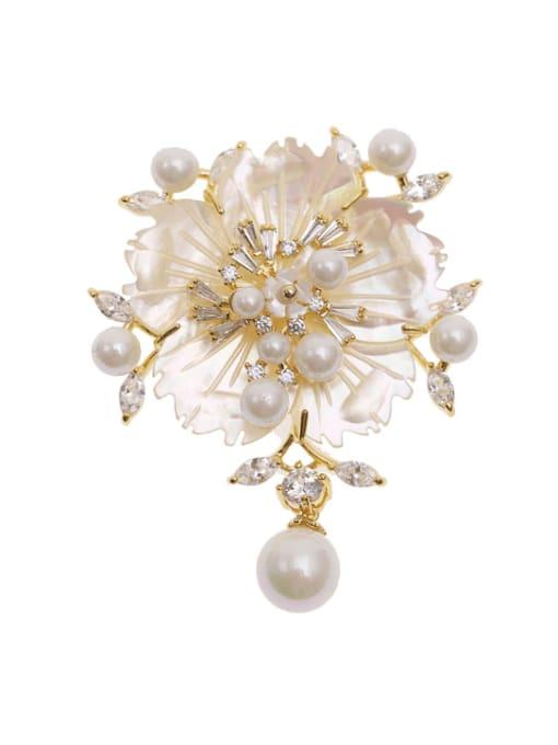 Luxu Brass Cubic Zirconia Flower Luxury Brooch 3