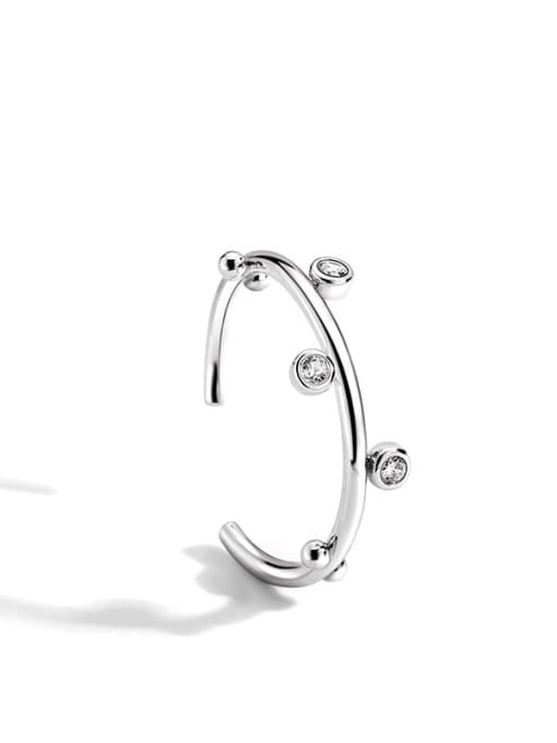 Platinum ring Brass Rhinestone Irregular Minimalist Band Ring