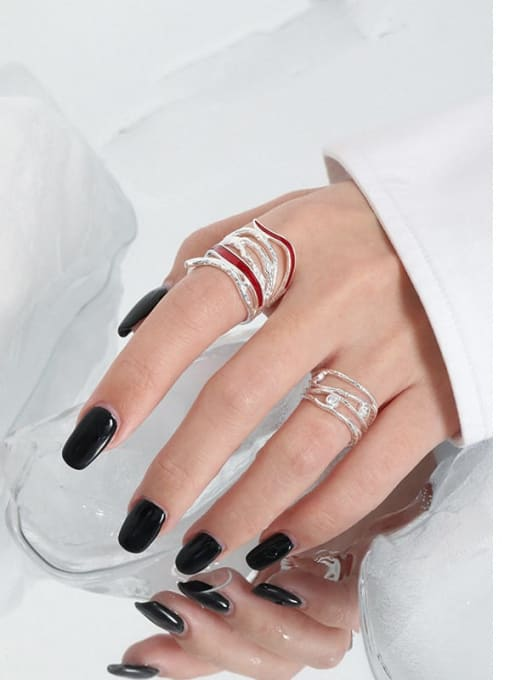 DAKA 925 Sterling Silver Enamel Geometric Vintage Stackable Ring 3