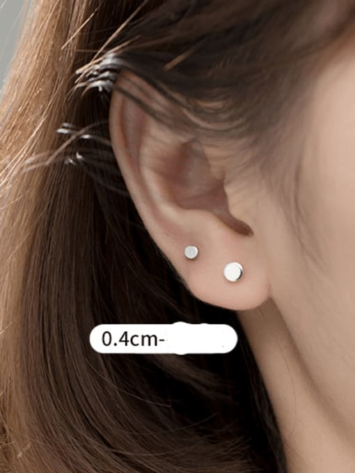 S925 silver pair Silver Large 925 Sterling Silver Round Minimalist Stud Earring