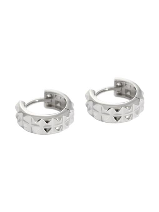 Platinum 925 Sterling Silver Vintage  Smooth gear Circle Huggie Earring