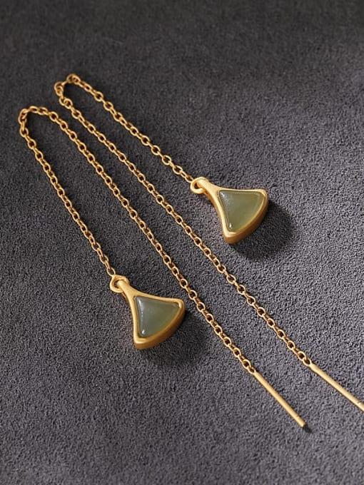 DEER 925 Sterling Silver Jade Triangle Vintage Threader Earring 2