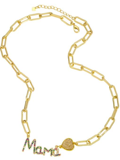 CC Brass Cubic Zirconia Letter MAMA Minimalist Pendant Necklace 3