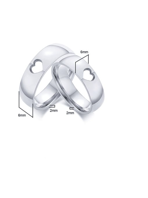 CONG Stainless steel Heart Minimalist Couple Ring 1