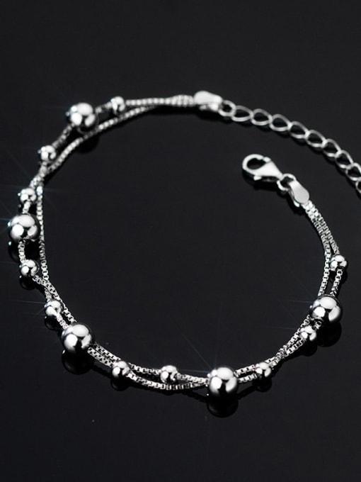 Rosh 925 Sterling Silver Bead Round Minimalist Strand Bracelet 2