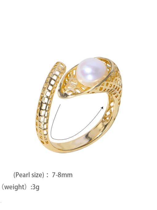 RAIN Brass Freshwater Pearl Irregular Vintage Band Ring 4