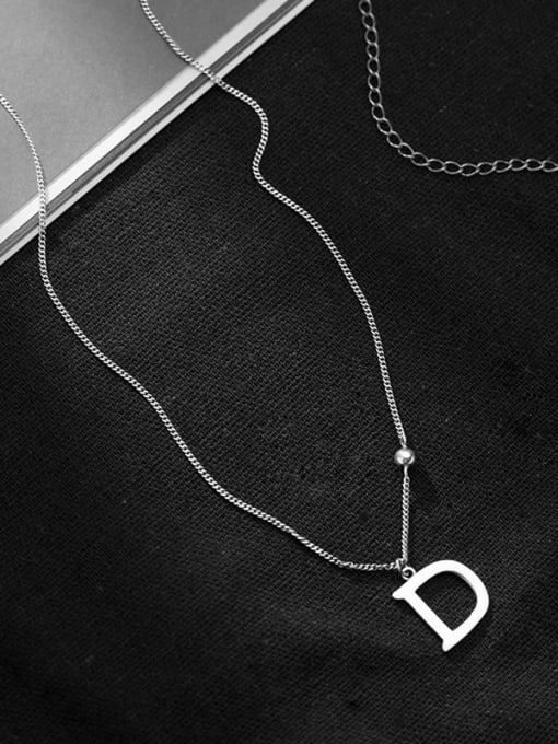 Rosh 925 Sterling Silver Letter Minimalist Necklace 2