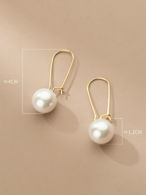 Rosh 925 Sterling Silver Imitation Pearl Geometric Minimalist Hook Earring 3