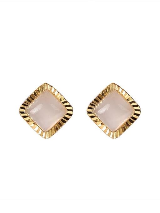 DEER 925 Sterling Silver Jade Square Vintage Stud Earring 0