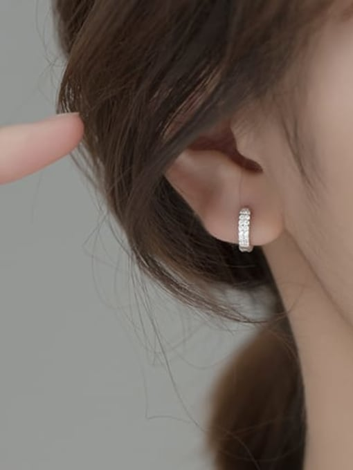 Rosh 925 Sterling Silver Cubic Zirconia Geometric Dainty Cluster Earring 2