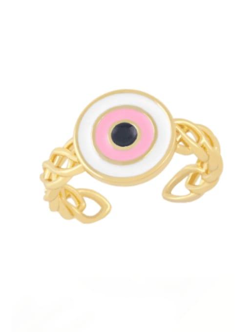 Pink Brass Enamel Evil Eye Vintage Band Ring