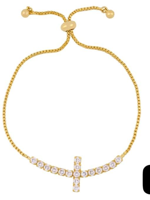 CC Alloy Cubic Zirconia Cross Vintage Link Bracelet