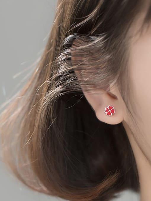 Rosh 925 Sterling Silver Enamel Flower Minimalist Stud Earring 1