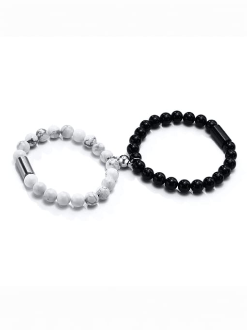 CONG Stainless steel Bead Round Hip Hop Beaded Bracelet 0