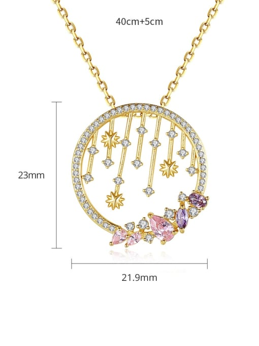 BLING SU Brass Cubic Zirconia Geometric Vintage Necklace 3