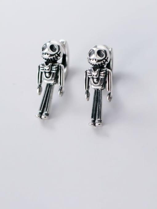 Rosh 925 Sterling Silver Skull Vintage Stud Earring 2