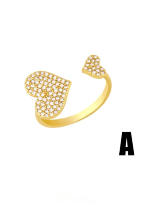 CC Brass Cubic Zirconia Heart Minimalist Band Ring 2