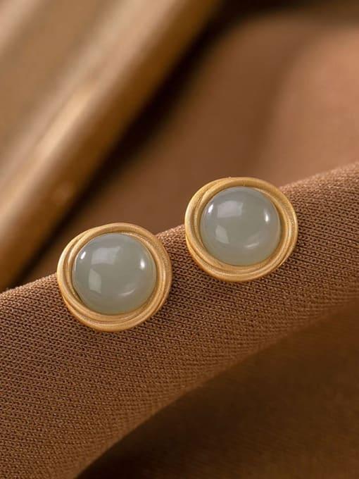 Blue jade (a pair) 925 Sterling Silver Jade Round Vintage Stud Earring