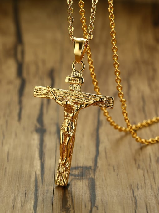 CONG Stainless steel Rhinestone Cross Vintage Regligious Necklace 2