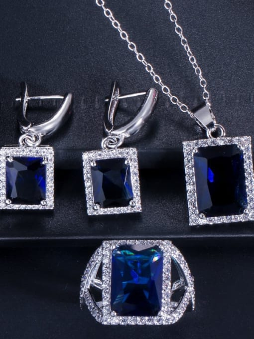 Dark blue ring size 7 Brass Cubic Zirconia Luxury Geometric  Earring Ring and Necklace Set