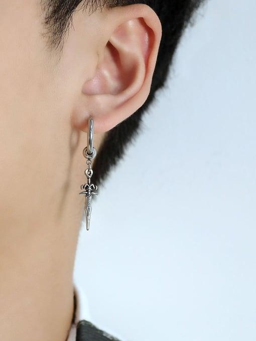 Open Sky Titanium Steel Cross Vintage Huggie Earring 3