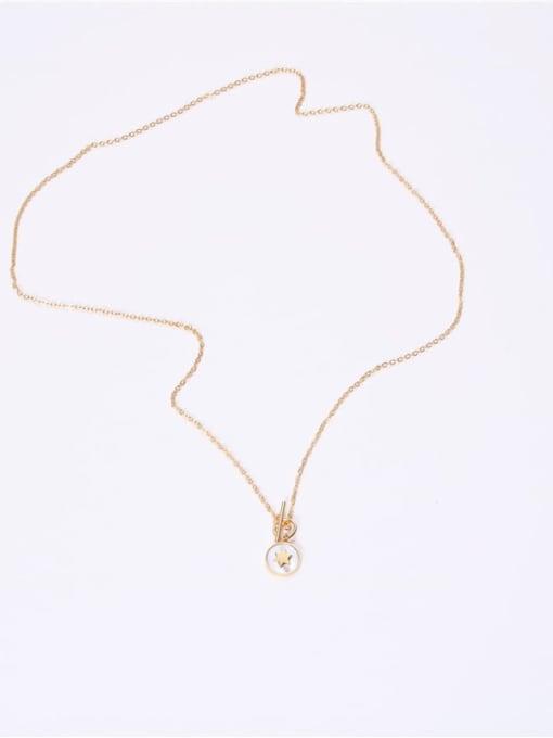GROSE Titanium Steel Shell Round Minimalist Necklace 1