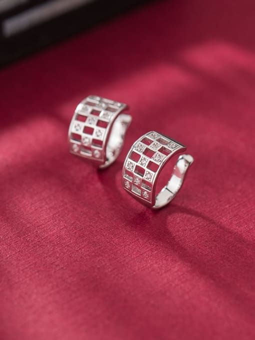 Rosh 925 Sterling Silver Cubic Zirconia Hollow square Vintage Huggie Earring 1