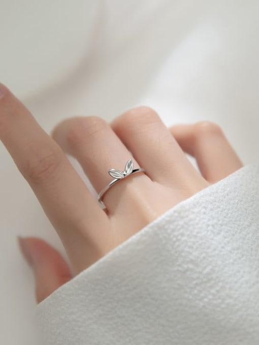 Rosh 925 Sterling Silver Leaf Cute Band Ring 2