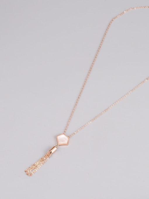 A TEEM Titanium Steel Tassel Minimalist Tassel Necklace 0