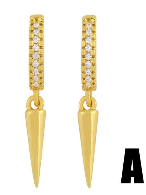 CC Brass Cubic Zirconia Cone Dainty Huggie Earring 0