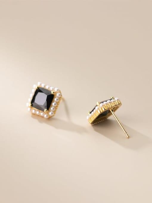 gold 925 Sterling Silver Imitation Pearl Geometric Vintage Stud Earring