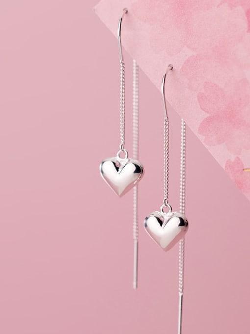 Rosh 925 Sterling Silver Heart Minimalist Threader Earring 1