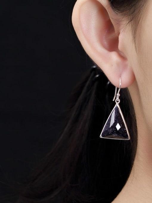 DEER 925 Sterling Silver Garnet Triangle Vintage Hook Earring 1