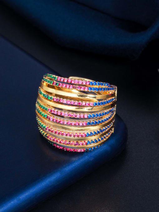 L.WIN Brass Cubic Zirconia Geometric Luxury Stackable Ring 0