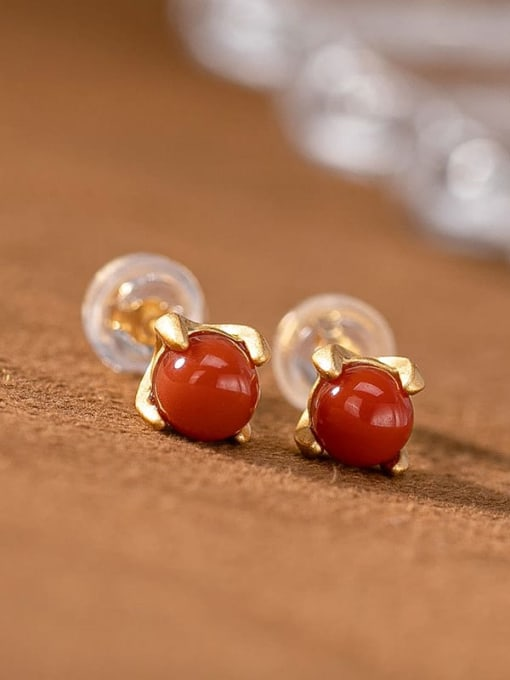 South Red (a pair) 925 Sterling Silver Jade Cute Round Ball  Stud Earring