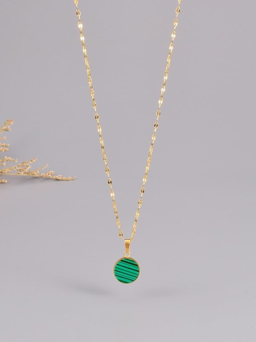 A TEEM Titanium Steel Enamel Round Minimalist Necklace 0