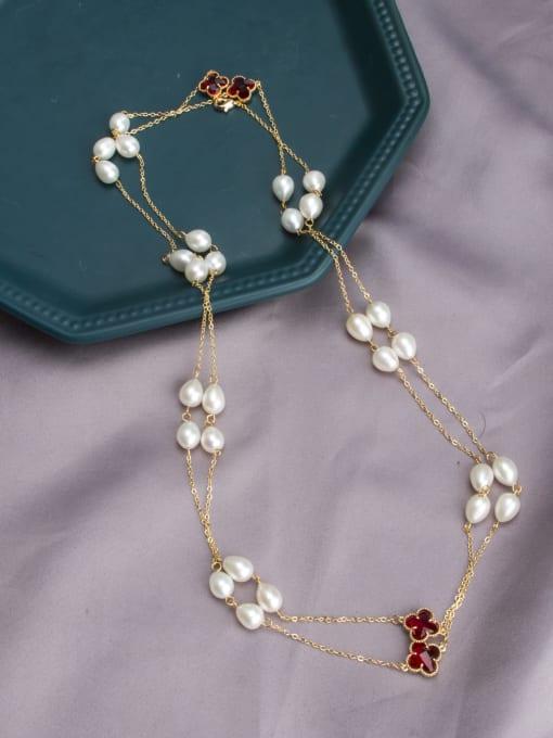 RAIN Brass Freshwater Pearl Geometric Vintage Multi Strand Necklace 1