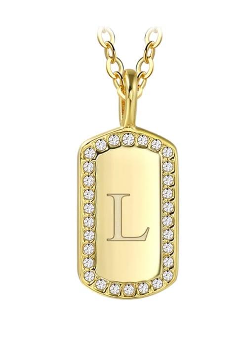 Gold Letter L Brass Rhinestone Letter Minimalist Necklace