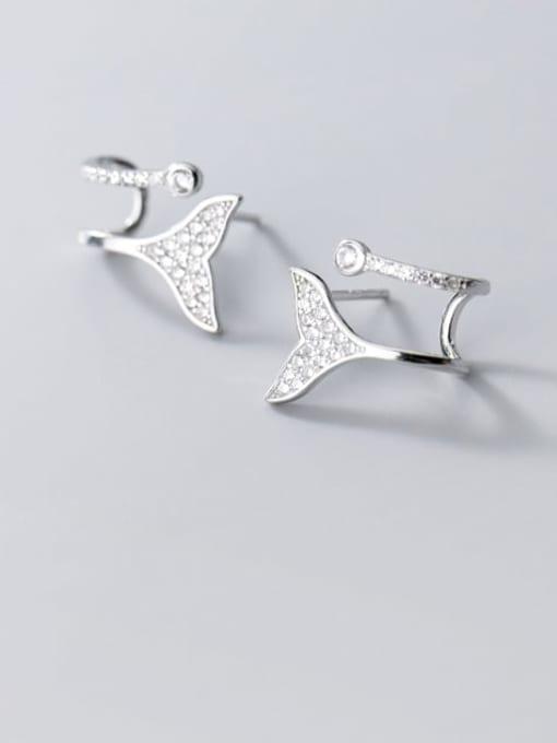 Rosh 925 Sterling Silver Rhinestone Triangle Dainty Stud Earring 1