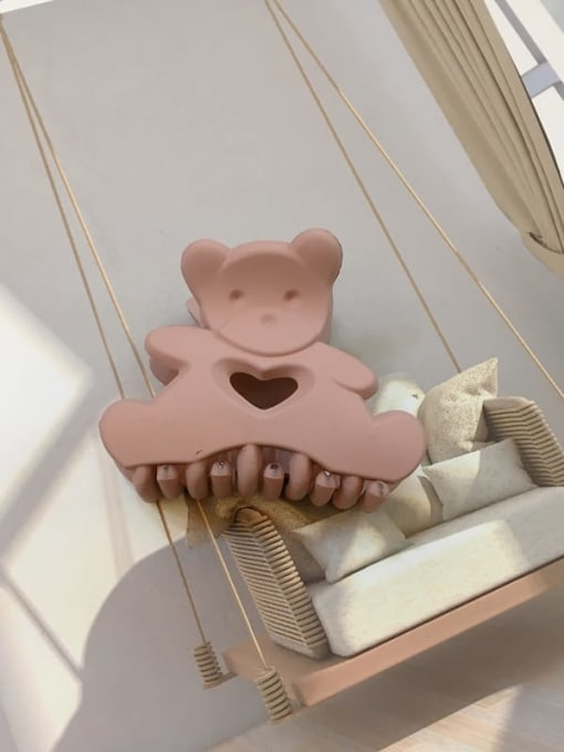 Frosted rose powder Alloy Resin Cute Panda Jaw Hair Claw