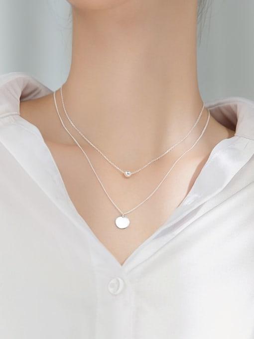 Rosh 925 Sterling Silver Round Minimalist Multi Strand Necklace 3