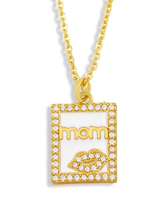 White square Brass Enamel Heart Vintage Necklace